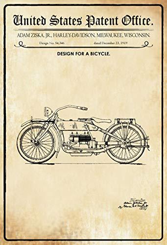 FS Patent Design fiets/Ziska - Harley metalen bord bordje gewelfd Metal Sign 20 x 30 cm