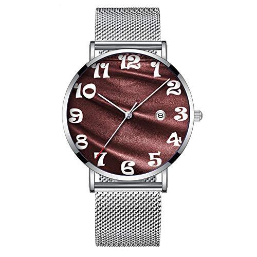 Minimalistische Mode Quarz-Armbanduhr Elite Ultra Thin wasserdichte Sportuhr mit Datum mit Mesh-Band 135.Rich dunkler Kaffee Burgunder Leder Look Print