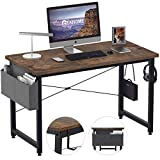 REAHOME Computer Desks 47 inch for Home Office Writing Table Bedroom Desks with Storage Bag and Iron Hook Modern Simple Style for Small Spaces(Rustic Brown)