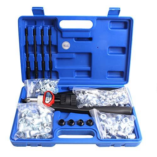 CCLIFE Nietmutternzange Nietenzange Set ink. 150 Alu Nietmuttern je 30 Stück x M5 M6 M8 M10 M12