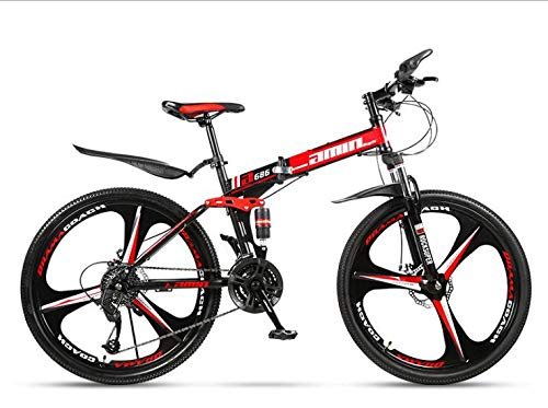 COUYY Double Shock 26 inches Black and red, Triangle Wheel Folding Bike Mito, Double disc Mountain Bike Bicycle Adult Male and Female Students,27 Speed