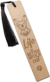 Life is Better with a Cat Solid Wood Bookmarks with Tassels, Gift for Book Lover Cat Lover Friends