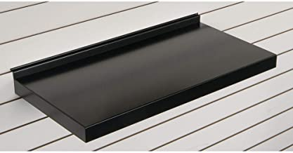 "Retail Resource 289-FS-2412B Slat Wall Shelves, 24"", Metal, Black"
