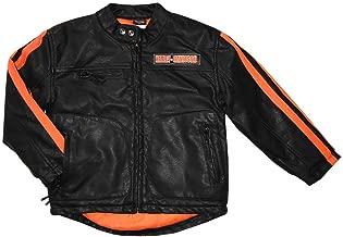 HARLEY-DAVIDSON Big Boys' Striped Faux Leather Biker Jacket, Black 6094849