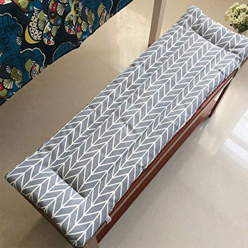 Xpnit - Cojín largo de banco con lazos de fijación, cojín de banco de jardín, 2 o 3 plazas, colchón de repuesto para interior y exterior lavable (120 x 30 cm)