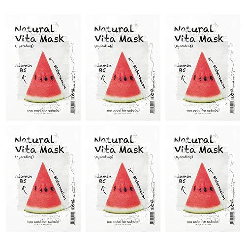Too Cool For School [6 masques] Masque Vita Naturel Hydratant [Vitamine B5, Pastèque] 23 ml