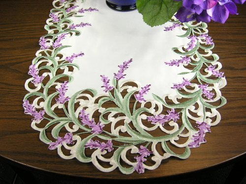 BANBERRY DESIGNS Embroidered Table Runner with Lavender Lilac Flowers on Cream, Approx. 14 by 34 Inch, Machine Washable