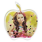 BestPysanky Apple Shaped Glitter Water Globe Picture Frame 4 Inches