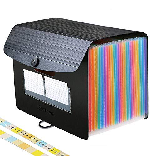 24 Bolsillos Carpeta Clasificadora de Acordeon,BluePower A4 Carpetas Plastico Archivador con Tapa Separadores Acordeón,Colores Organizador Documentos Archivadores Papeles Documentos Clasificador