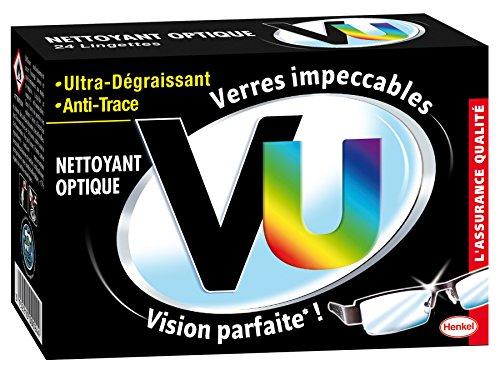 Vu Nettoyant Optique Lingettes Nettoyantes Lunettes Ultra Dégraissant et Anti Trace, 24 lingettes