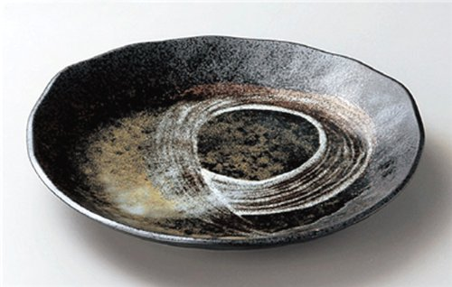 WHITE-BRUSH Jiki Japanese traditional Porcelain Medium Round Plate made in JAPAN