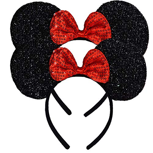 FANYITY Mouse Ears Headbands Sequin Hair Band for Girls Women Boys Party, 2 Pieces (RED)
