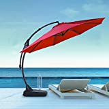 Grand patio Napoli Premium Outdoor Offset Patio Cantilever Umbrella with Base for Garden, Deck, Backyard and Pool (11FT, Brick Red)