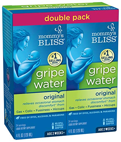 Mommy's Bliss Double Pack Gripe Water for Babies 2 Weeks & Up, Relieves Stomach Discomfort from Gas, Colic, Fussiness & Hiccups, 8 Fl Oz