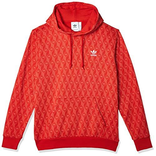 adidas Herren Sweatshirt Mono AOP Hoodie, Lush red/still orange, S, FM3407