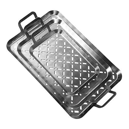 GRILL & MORE Essentials, Plateau pour barbecue, Set de 3 plateaux, en acier inoxydable