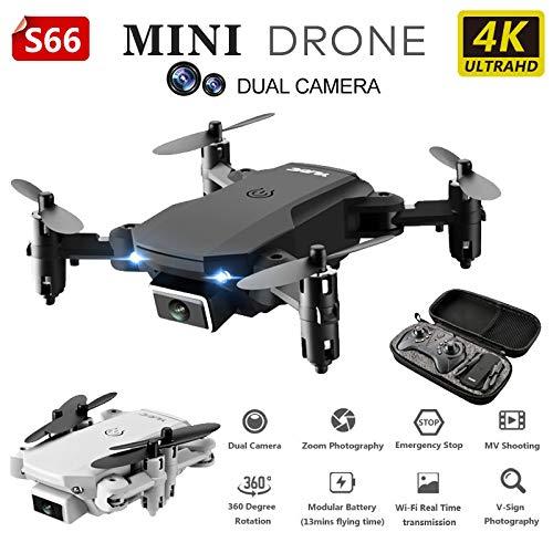 4K RC Faltbare Drone Dual-Kamera WiFi Drone FPV Mini-Drohne HD Weitwinkel-Kamera Hubschrauber Quadcopter Drone RC Spielzeug für Kinder S66