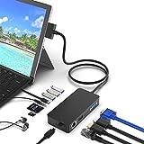 Surface Pro dock 4/5/6 USB Hub con puerto Gigabit Ethernet, 4K HDMI DP Display Puerto VGA, 3xUSB 3.0 Puertos, Puerto de salida de audio, Puerto USB C, Lector de tarjetas múltiples SD TF (Micro SD)