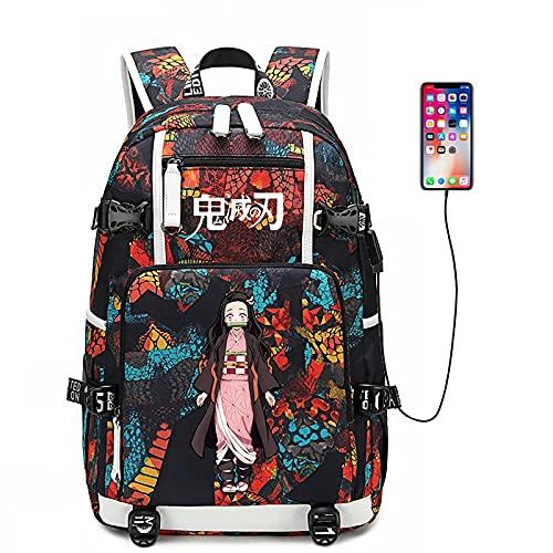 EDMKO Mochila Anime Demon Slayer, Grande Capacidad Mochila Escolar 3D Impreso Cosplay Bolsa para Laptop Estudiante Rucksack Moda Casual Backpack Bolsa de Viaje para Viajes Escolares,C
