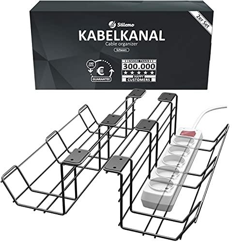 Kabelkanal Schreibtisch für Ordnung am Arbeitsplatz - Kabelmanagement Schreibtisch TÜV Rheinland geprüft - Kabelhalter Kabelwanne Tisch 2er Set - Kabelkorb schwarz - 38 x 10,5 x 11 cm (Schwarz)