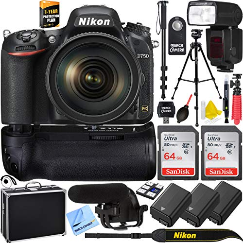 Nikon D750 DSLR 24.3MP Digital Camera with AF-S NIKKOR 24-120mm f/4G ED VR Lens Bundle with 2X 64GB Memory Card, Automatic Flash, 2X Battery, 1 Year Extended Warranty and Accessories (15 Items)