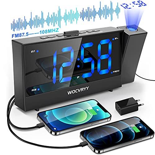 SvegliaDigitaledaComodinoconProiettore, WOCVRYY Radiosveglia con Proiettore, Proiezione Ruotabile di 180 °, Doppia Sveglia e Snooze, 12/24h, FM Radio, 2 Porte di Ricarica USB