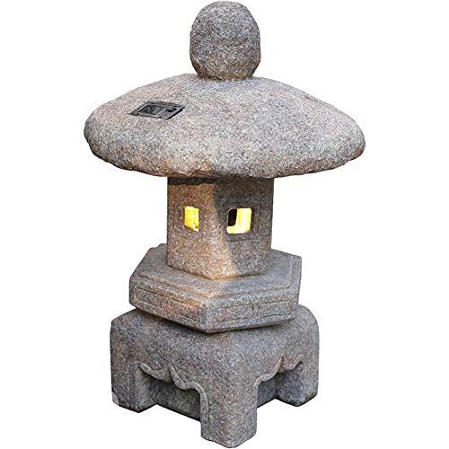 WEN Japanische Art-Solar LED-Lampe, 23,6-Zoll-Hand Geschnitzte Pagode Laterne Beleuchtet Statue Historisch Yard Gartendeko