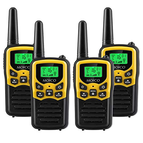51Xsmcv3ZvL - Walkie Talkies Long Range for Adults Two-Way Radios Up to 5 Miles in Open Fields 22 Channels FRS/GMRS VOX Scan LCD Display with LED Flashlight Ideal for Field Survival Biking Hiking Camping 4 Pack