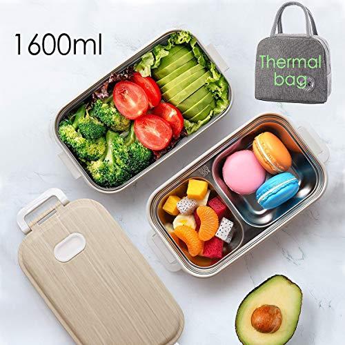 Queta Lunchbox mit Edelstahlsbehälter, 1600ml Brotdose Bento Box mit 3 Unterteilungen & 1 Tasche für Schule Arbeit Picknick Spülmaschinegeeignet