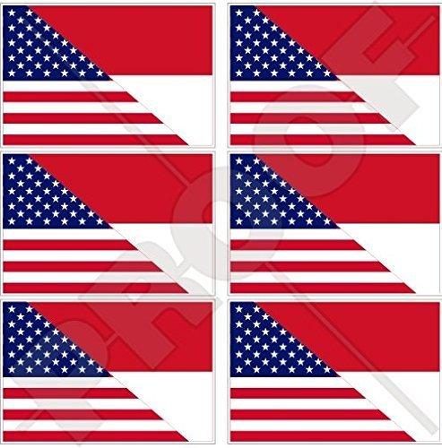 USA Vereinigte Staaten von Amerika und INDONESIEN, Amerikanisch und Indonesische Flagge, Fahne 40mm Mobile, Handy Vinyl Mini Aufkleber, Abziehbilder x6 Stickers