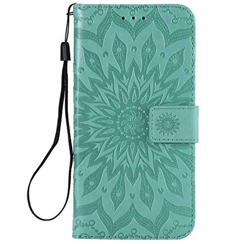 Hülle für LG X Power 3 Hülle Leder,[Kartenfach & Standfunktion] Flip Case Lederhülle Schutzhülle für LG X Power3 - EYKT031860 Grün