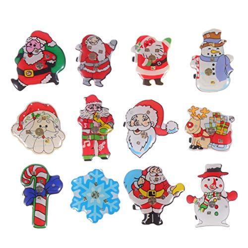 Toyvian 50 stücke Weihnachten broschen Weihnachten led leuchtende brosche kreative Tuch zubehör brustnadel Dekorationen anstecknadeln Flash brosche für Kinder