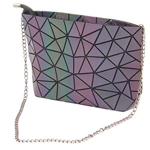 Hihey Damen Handtasche Henkeltasche Crossbody Taschen für Frauen Geometrische Geldbörse Geometrische Reflektierende Geldbörse Luminous Rainbow Holographic Geldbörse