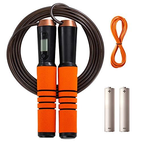 Springseil für Erwachsene Fitness, Digital Speed Jump Rope für Übung - Bluetooth Einstellbarer Kalorienzähler mit Telefon APP, Smart Jumping Rope für Frauen, Männer & Kinder-Gym Home Workout