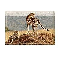 Assanu 野生動物の装飾サファリヒョウママと息子が戸口でプレーリーパターンの上に立ってバスルームへようこそバスルームリビングルームきれいにきれいなカーペット