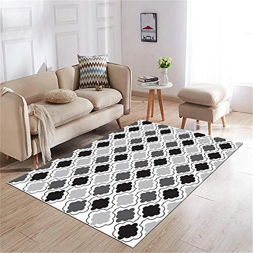 Kunsen Alfombra Lavable alfombras Comedor Estilo Alfombra Gris y Negra Antideslizante y anticaída decoración Moderna de la Sala de Estar Alfombra para habitacion 180X200CM 5ft 10.9' X6ft 6.7'
