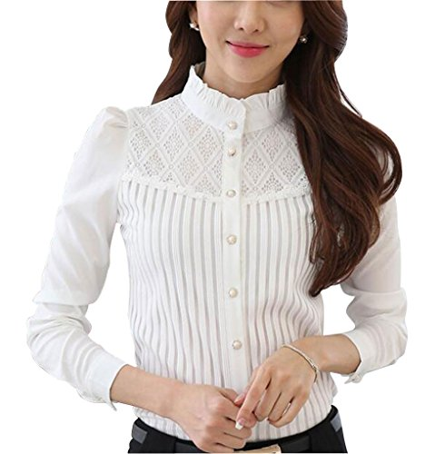 Womens Vintage Collared Button Down Shirt Long Sleeve Lace Stretch Blouse White 6