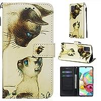 WARMHW カラフルな描画パターンホールダーとカードスロット&財布&財布&ラヤラードの水平方向のフリップレザーケース&Lanyardfor Galaxy A71 (Color : Cat looking)