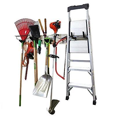 "Wall Control Garage Storage Rack Lawn & Garden Tool Organization Wall Mount Organizer - Easy to Install 64"" Wide Heavy Duty Metal Pegboard Set"