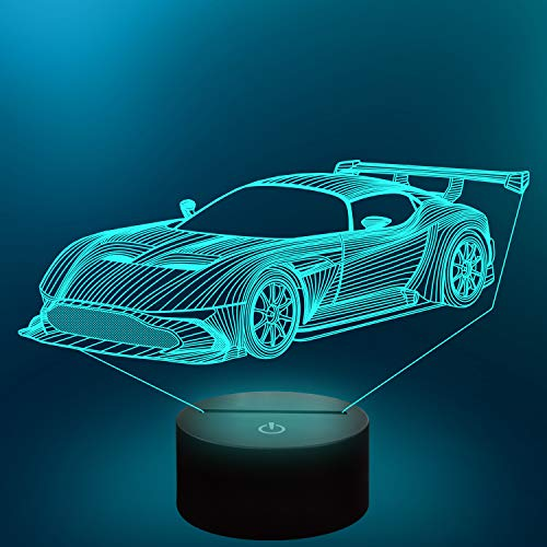 Coopark Car 3D Gifts Lamp, Sport Racing Illusion Optical Night Light 16 Colors Changing with Remote Control Kids Bedroom Decor Cool Novelty Birthday Gift Present for Boy Men Toddler
