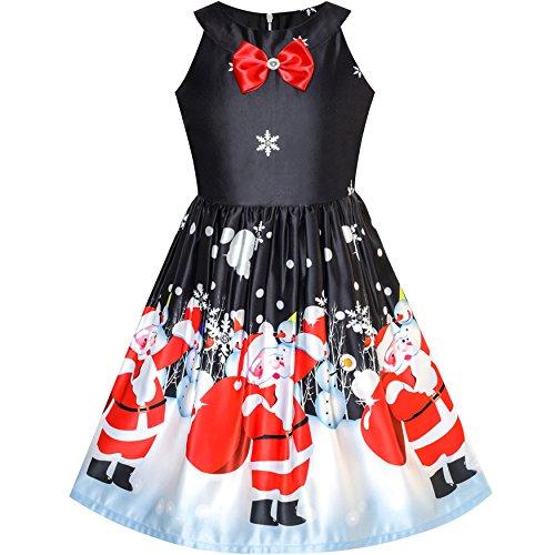 LQ62 Girls Dress Black Christmas Santa Snow Xmas Tree Party Size 8