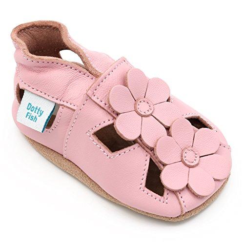 Dotty Fish Weiche Baby und Kleinkind Lederschuhe. Mädchen. Sandalen rosa mit Blumen. 6-12 Monate (19 EU)