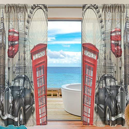 Vinlin Vorhang für Fenster, durchsichtig, Vintage, London City, Voile, für Schlafzimmer, Wohnzimmer, 2 Paneele 139,7 x 198 cm, Multi, 55x78x2(in)
