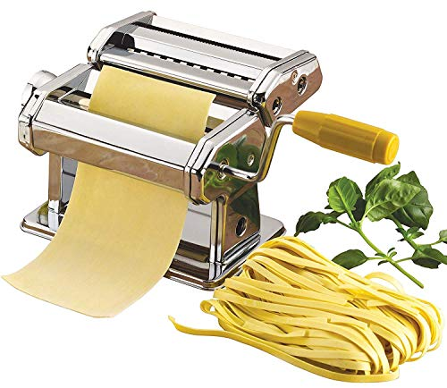 BHAVYATA 3 in 1 Stainless Steel Pasta Maker Noodle Making Dough Roller Cutter Machine Hand Crank and Clamp for Spaghetti and Lasagna Tagliatelle Fettuccine