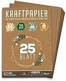 25 Blatt Kraftpapier A4 Set - 260 g - 21 x 29,7 cm - DIN Format - Bastelpapier & Naturkarton Pappe...