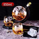 Whisky Decanter Globe Set, con 2 Vasos de Whisky Globe Grabados, Resistencia al Calor y al frío, para Licor, Whisky, borbón, Vodka - 850 ml