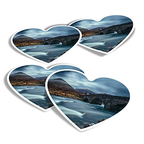 Vinyl Heart Stickers (Set of 4) - The Old Bridge Isle of Skye Scotland Fun Decals for Laptops,Tablets,Luggage,Scrap Booking,Fridges #46357