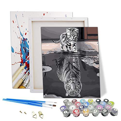 Puosike Malen nach Zahlen Erwachsene, DIY Ölgemälde für Kinder Anfänger, Katze oder Tiger Kreatives Gemälde auf Leinwand, Wandkunst Dekoration Home Haus Deko - Mit Rahmen 40×50cm