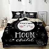 Juego de funda nórdica beige, estilo de dibujos animados Galaxy Concept con encantadora luna y letras infantiles de la luna, juego de cama decorativo de 3 piezas con 2 fundas de almohada Fácil cuidado
