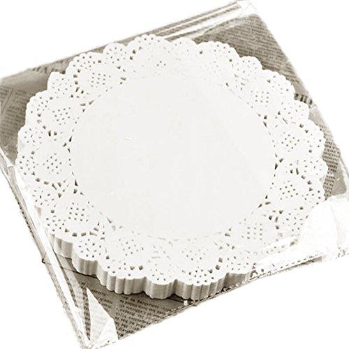 Hosaire 100 Piezas Redondas Blondas De Papel Blanco Pastillas De Tortas De Papel Hueco del Cordón Tapetitos De Papel - Color Blanco
